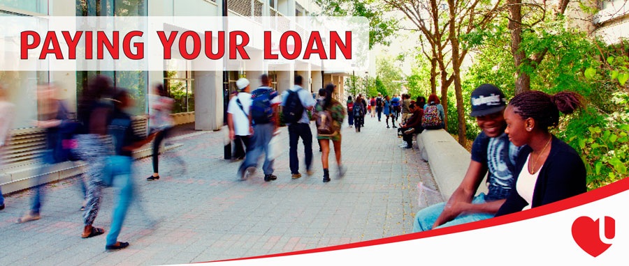 Paying Your Loan blog post banner - photo of a busy campus walk at York's Keele campus, bustling with students.